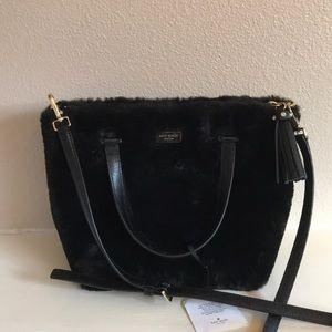 KATE SPADE black fur satchel mini crossbody bag